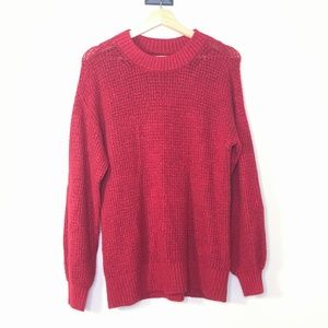 American Eagle Deep Red Waffle Knit Sweater